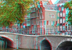 Reguliersgracht Amsterdam 3D (wim hoppenbrouwers) Tags: holland amsterdam canal 3d anaglyph stereo keizersgracht gracht reguliersgracht redcyan