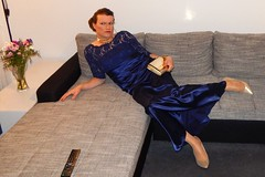 Glamorous Gurl (Rikky_Satin) Tags: blue cute gold highheels dress silk tgirl transgender prom transvestite glam gown satin diva gala crossdresser glamorous