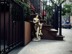 Faded Splendor (-jamesstave-) Tags: street city nyc urban sculpture woman newyork abandoned statue female brooklyn found child object kitsch plaster sidewalk worn weathered discarded statuary distressed iphone5s