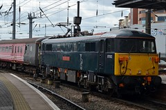87002 at Newcastle 15/5/16 (CraigPatrick24) Tags: station train newcastle transport rail railway locomotive caledonian newcastlecentralstation royalsovereign gbrailfreight class87 gbrf 87002