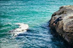 Santa Cruz Backflip (bradleysiefert) Tags: california trip travel cliff santacruz coast us unitedstates cliffjumping backflip 2015 lighthousepointpark summerjourneys fujifilmxt1