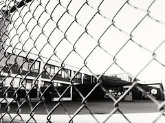 School's out (vinnie saxon) Tags: school windows urban blackandwhite monochrome yard fence graffiti nikon view bokeh d600 nikoniste