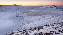 Blue Lake (blue polaris) Tags: park new blue winter sunset lake snow ice landscape volcano crossing dusk central zealand alpine national crater tongariro volcanic