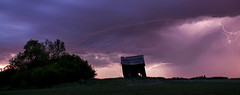 Mad Scientist's Cabin (Len Langevin) Tags: longexposure sky storm abandoned weather night clouds nikon alberta elements lightning nikkor d300 18300