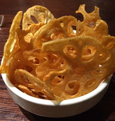 Lotus root chips (tseenster) Tags: yum lotus eating holes chips crispy eat salty snack snacks root fried crunchy holey entree
