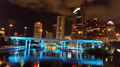 Downtown Blues (Michel Curi) Tags: city blue urban water architecture night buildings reflections tampa lights arquitectura edificios downtown florida structures ciudad nighttime fl hillsborough estructuras lovefl