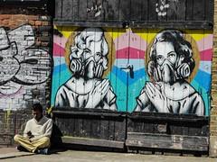 Breathe Easy (Douguerreotype) Tags: street city uk england people urban streetart london art wall graffiti britain shoreditch gb british whitechapel urbex