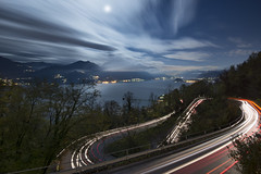 LOGO SP7 Como (Lee Sie) Tags: road longexposure light italy moon lake como curves trails windy streaks