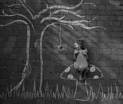 Little Miss Muffet (charlottz - Charlotte G Photography) Tags: portrait tree mushroom girl fairytale forest mono spider blackwhite chalk scary nikon child drawing expression creative scene monotone spooky toadstool rhyme projectflickr littlemissmuffet d5100