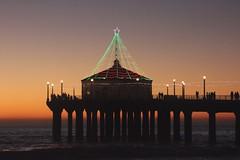 pier christmas lights (Karol Franks) Tags: christmas tree lights pier ocean holiday decorated sunset orange socal losangeles california ©karolfranks okarolyahoocom