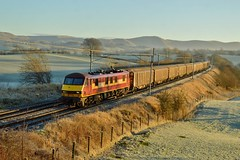 90028_Docker_6M03_031214_1 (DS 90008) Tags: mail locomotive passenger royalmail freight wagons dbs ews dallam class90 wcml vgas ohle 90028 freightloco postaltrain shieldmuir 6m03