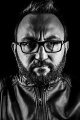 portrait (el_mo) Tags: portrait people blackandwhite bw leather beard stash personal mustache rockit fullbeard