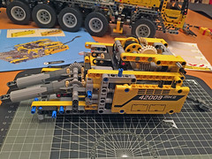 Lego Crane 42009 - The cab is nearly finished (Biggleswade Blue) Tags: 2 truck out lego crane cab engineering gear boom piston technic ii rig cylinder chassis pistons gears complex cylinders instruction mk axle outrigger rigger 42009