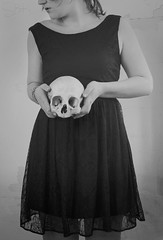 Born To Die (Sarah-BK) Tags: woman black girl lady real skull born holding die dress head human conceptual