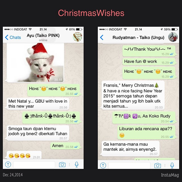 This #CHRISTMAS EVE, I just received 2 Christmas #wishes from Muslim #friends. Its so nice & #peaceful in togetherness. NO matter what religion you are in.