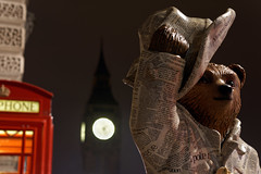 Paddington Bear - Good News Bear (mattrkeyworth) Tags: paddingtontrail london sonya7r westminster telephonebox uk thetelegraphnewspaper telegraph paddingtonbear paddington sel55f18z night nacht nuit mattrkeyworth sonnartfe1855 nightset zeiss