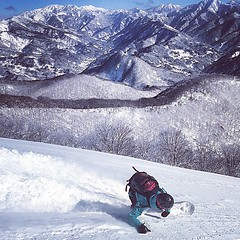 Yesterday #tabitabi boss Angela's first riding day was epic. Deep front side euro style on pow. 昨日のA氏、シーズン初日から全開でした。#hakuba #白馬