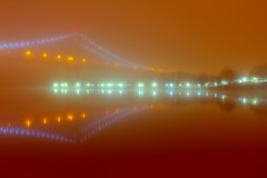 Simple in the Fog (Rommel Parada) Tags: nightphotography red orange color fog lights colorful waterfront nightshot shore nightime eastriver suspensionbridge hdr triborobridge randallsisland wardsisland wardsislandpark robertfkennedybridge