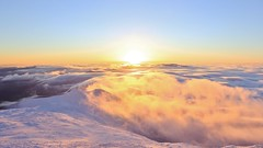 Sunset w/ undercast (rightthewrong) Tags: new winter sunset snow southwest clouds washington december skies mt lakes hampshire dec clear mount monroe rime 2014 undercast