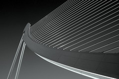 A bridge like a harp (PeterCH51) Tags: bridge light blackandwhite bw white black valencia monochrome architecture spain contemporary calatrava elegant harp santiagocalatrava ciudaddelasartesylasciencias peterch51