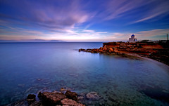 Praying on the edge of the cliff (RF-Edin) Tags: sea church rocks greece agiosnikolas