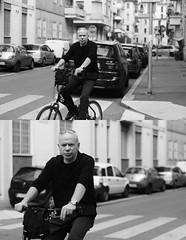 [La Mia Citt][Pedala] (Urca) Tags: portrait blackandwhite bw bike bicycle italia milano bn ciclista biancoenero mir bicicletta 2014 pedalare 6981 dittico nikondigitale ritrattostradale