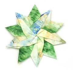 Fujimoto pentagon Rosette 35 front (Pliages et vagabondages) Tags: star origami rosette pentagon décoration déco étoile fujimoto pentagone