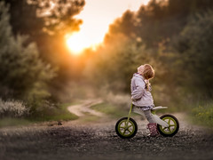bird watching (iwona_podlasinska) Tags: road sunset bird girl child country watching
