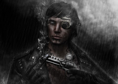 Dark rainy days (_Adra_ * Taking Clients*) Tags: rain photoshop gun peace mesh free secondlife gift samurai