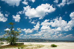 summer's coming !! (dobromir.dimitrov) Tags: blue sea tree beach clouds seaside sand whiteclouds fluffyclouds