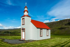 Godalakirkja Skagafjordur Iceland (Einar Schioth) Tags: summer sky cloud church grass sunshine clouds canon photo iceland day outdoor ngc picture sland nationalgeographic skagafjordur einarschioth