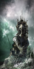 The Attonement (Vincent Mattina (aka FLUX)) Tags: ocean sea storm building statue waves towers deconstruction