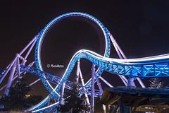 Blue Fire (Europa-Park) @ Night (PhotoMatze) Tags: night nacht rollercoaster themepark europapark achterbahn langzeitbelichtung freizeitpark themenpark lichtzieher