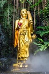 Golden Buddha (Guillaume Desfeux) Tags: statue fog forest thailand golden outdoor bangkok buddha smoke mount