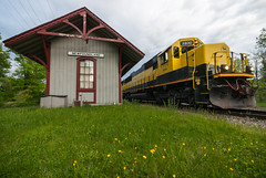 Yellows of Newfoundland (sullivan1985) Tags: new york railroad station train newfoundland railway western jersey freight westbound susquehanna susieq yellowjackets sd60 nysw su99 sd33eco