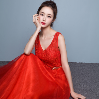 Party gowns 2016 new Korean style long bi-fold wallet red