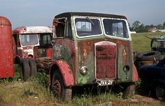 Albion Chieftain JVA26 at Doune Motors. Jun'83. (David Christie 14) Tags: lorry scrapyard doune albionchieftain