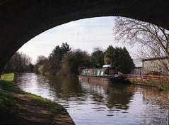 Canal bridge (dougfot) Tags: england mamiya film canal miltonkeynes kodak handheld mf f8 narrowboat 100asa cpl grandunioncanal 1125 ektar polariser m645 douggoldsmith