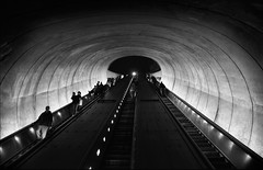 Subway (Katerina Atha) Tags: city people urban blackandwhite bw night stairs dark underground subway metro passengers