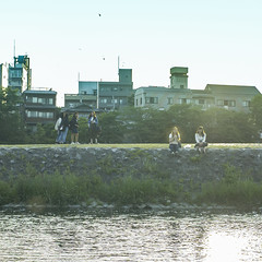 Enjoy The Cool River ( aikawake) Tags: life girls sunset love nature students beautiful beauty sunshine wonderful river happy cool kyoto outdoor good great culture style happiness sunny enjoy sit  casual  sunnyday