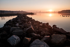 Breakwater in the morning (Evolved Vision) Tags: morning seascape birds sunrise calm tranquil breakwater fujix70