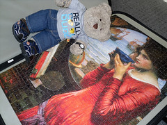 Why is she called Density? (pefkosmad) Tags: bear ted art painting toy stuffed soft artist teddy fluffy hobby plush puzzle painter romantic leisure jigsaw preraphaelite pastime johnwilliamwaterhouse tedricstudmuffin