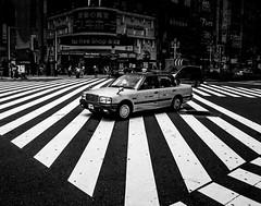 .taxi! (Shirren Lim) Tags: tokyo shinjuku blackandwhite monochrome people crossroads japan ricoh graphic lines abstract outdoor symmetry sidewalk bw street city