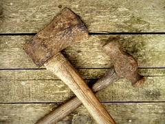 Never too used to be used (D.J. De La Vega) Tags: fujifilm x20 fuji axe hammer tool tools rust moss wabi sabi wabisabi metal wood decay