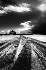 icelandic ruin (krelina) Tags: road winter blackandwhite bw snow storm cold ice nature weather clouds contrast landscape iceland snowstorm ruin arctic ruine sw snaefellsnes schwarzweis