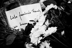. (Thorsten Strasas) Tags: france berlin germany de nice frankreich flag embassy terror vigil fahne flagge nizza halbmast gedenken botschaft schwarzweis trauerfeier