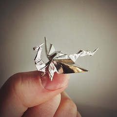 Miniature Origami Dragon (katypillar22) Tags: origami dragon miniature silver