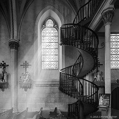 "Loretto Chapel, Santa Fe NM (24""x24"") (JMichaelSullivan) Tags: bw newmexico santafe church monochrome 100v mono chapel 10f badge 600v nm magical 200v enchantment 500v loretto 700v 300v 5f 15f 400v 20f"