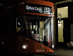 Red Bus at Night (stevedexteruk) Tags: city red bus london westminster night dark transport streetphotography driver w1 oxfordcircus 137 arriva 2014 1353 ltz johnprincesstreet