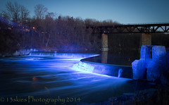 Blue light on the dam (13skies) Tags: morning blue cold water walking dam grand trail bluelight trainbridge parison thegrandriver